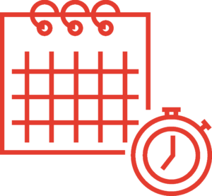 Red doodle of a calendar with a stop watch on the side