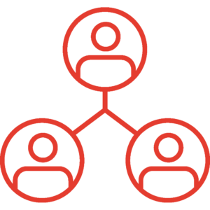 Red doodle of three people in individual circles connected by a line