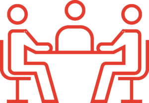Red doodle of people sitting around a table