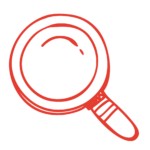 Red Magnifying Glass doodle