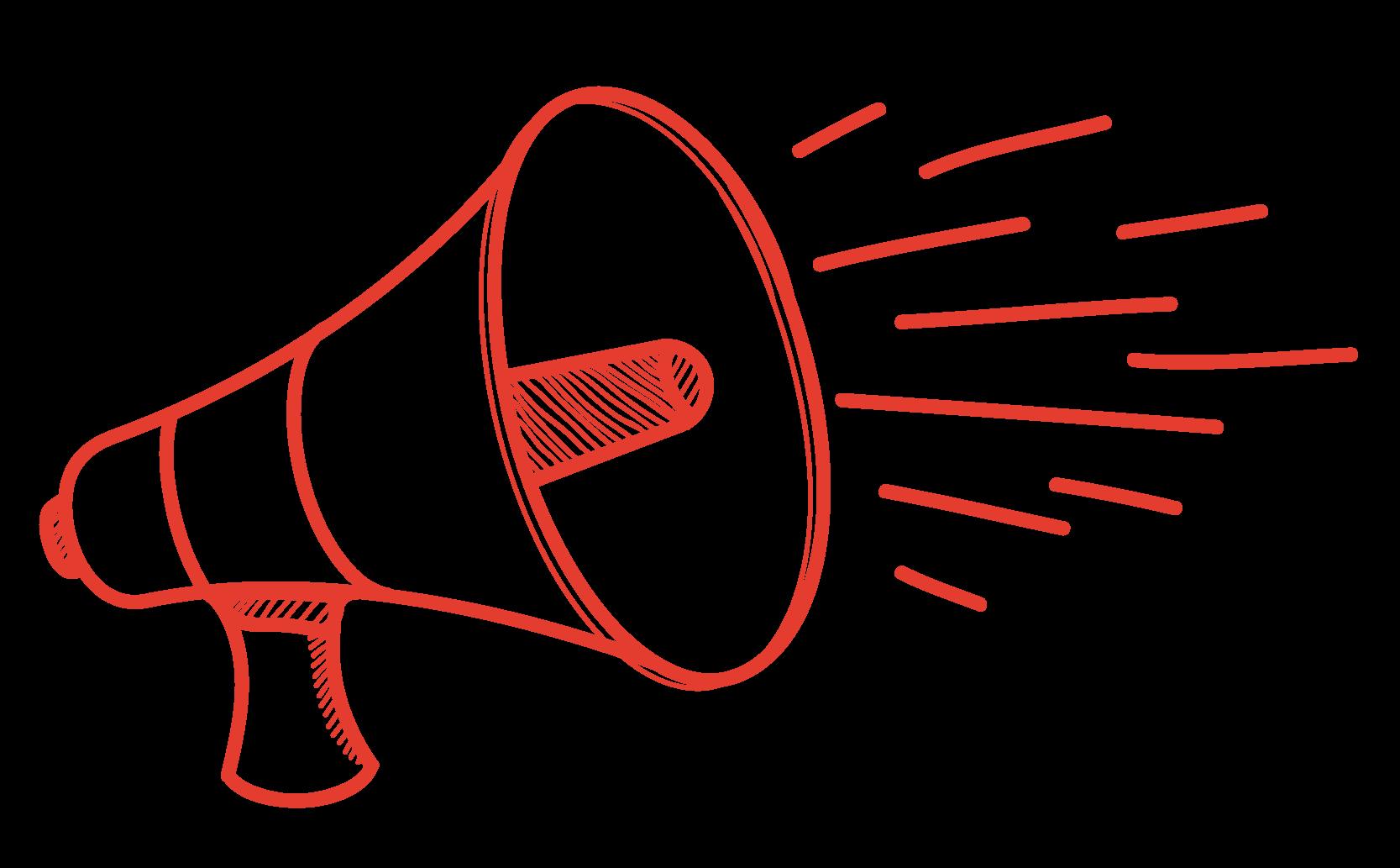 Red megaphone doodle
