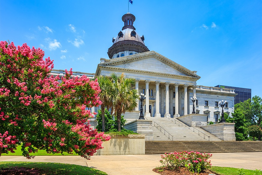 Capitol Building, Columbia South Carolina State House, in the springtime with beautiful blooming crepe myrtle tree and a clear blue sky.