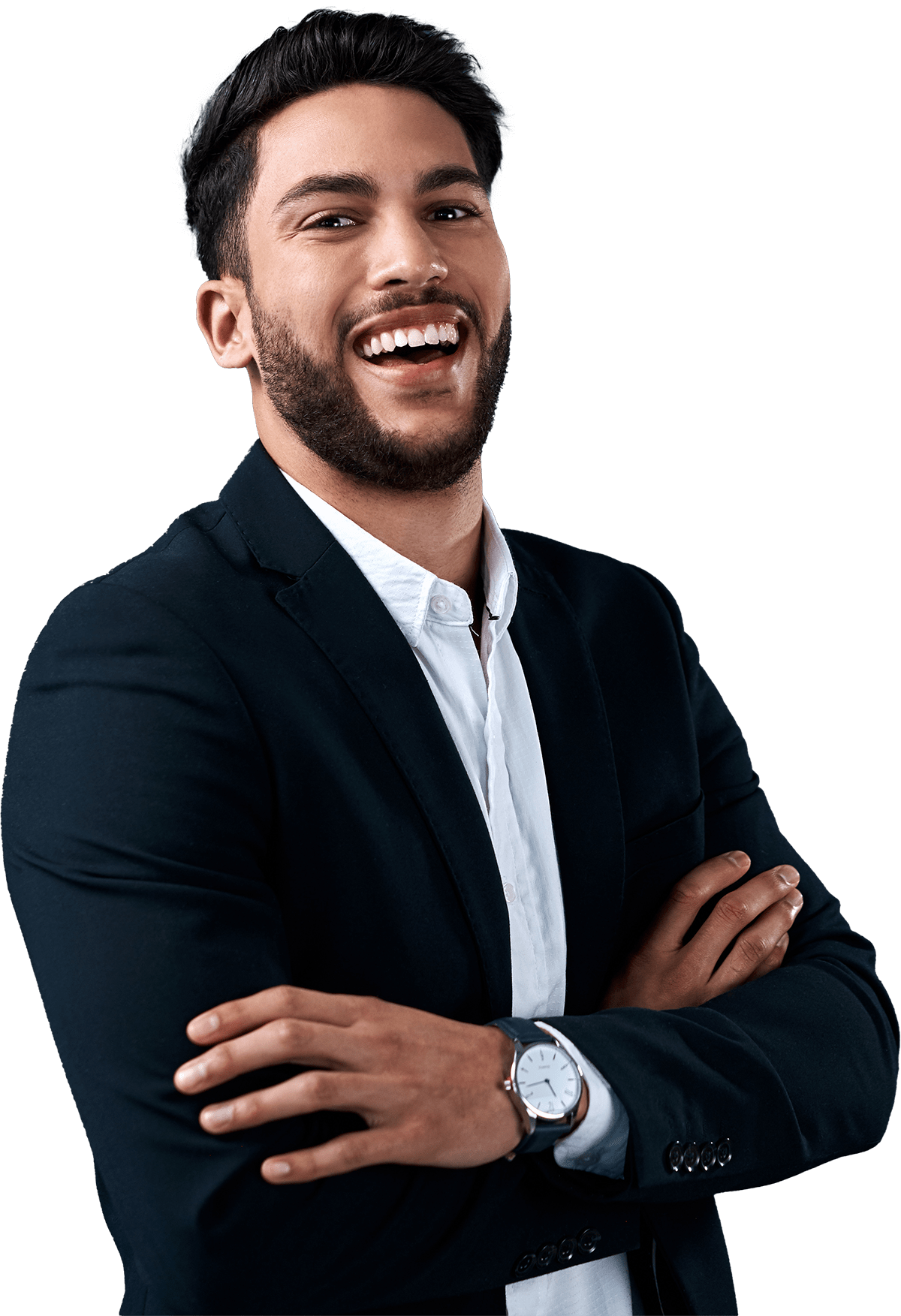 Man in suit jacket smiling with his arms crossed